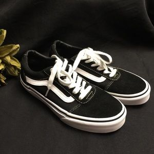 Vans-Black with white stripe, Red Vans symbol-2